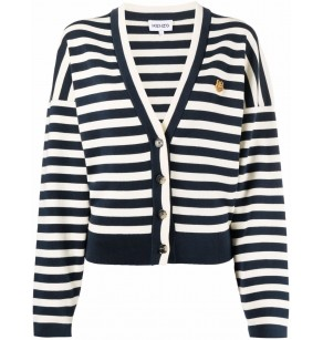 KENZO STRIPED BUTTONED CARDIGAN